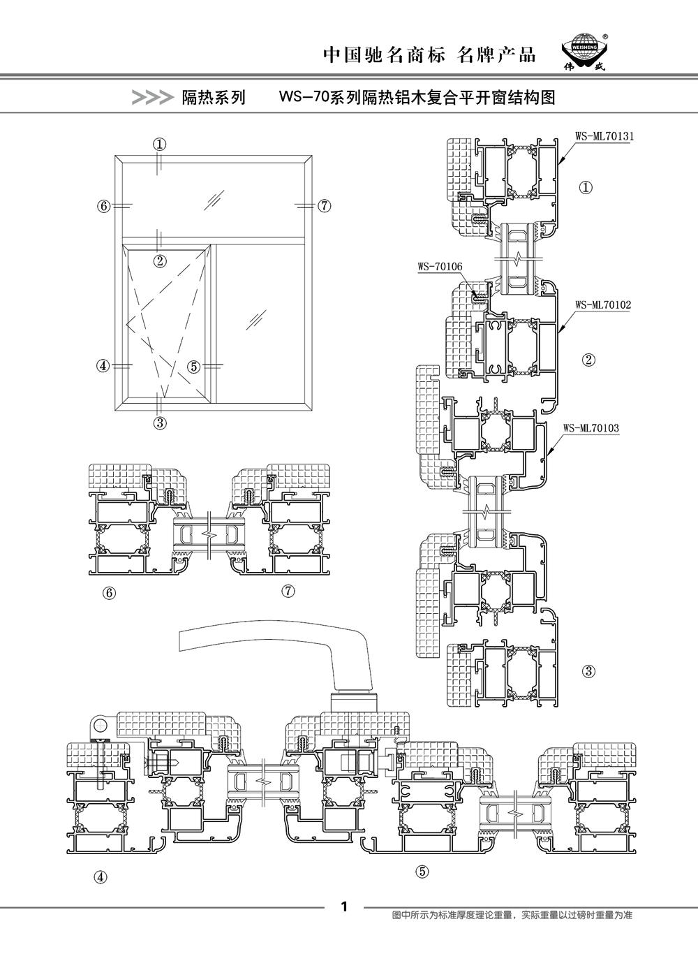 WS-70系列隔热铝木复合平开门窗